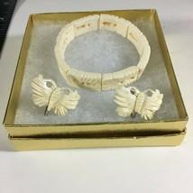 """Vintage 1960s Stretch Bracelet 7.5"""" Set Screw Back Clip Earrings 5/8""""Fau... - $23.51"""