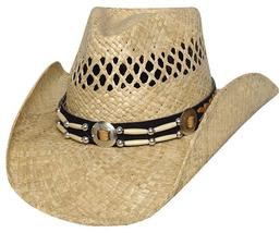 Bullhide Ashland Vented Raffia Straw Cowboy Hat Barrel Beads Conchos Natural - £59.67 GBP