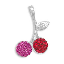 Sterling Silver Crystal Cherries Pendant - $42.99