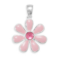 Sterling Silver Pendant with Pink Enamel Flower - $29.99
