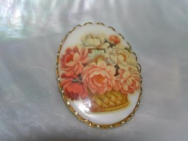 Vintage Orange & Yellow Flowers in Basket Oval Porcelain Ceramic in Gold... - $10.39