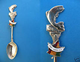 PORT HARDY BC. Souvenir Collector Spoon FISH FISHING British Columbia MAPLE LEAF - $5.95