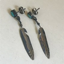 Vintage Old Pawn Tiny Turquoise Oval Stone w Silver Feather Dangle Post ... - $19.06
