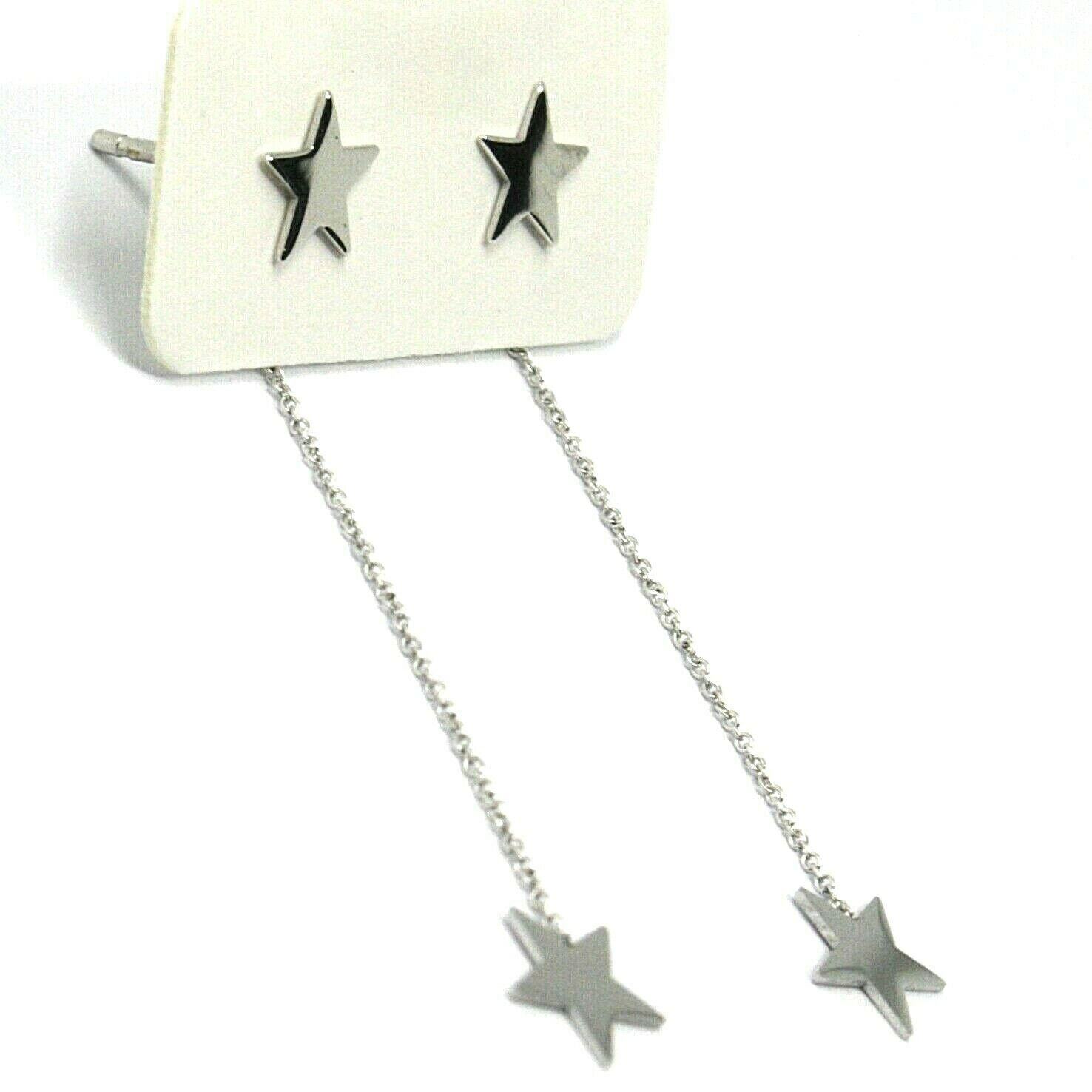 18K WHITE GOLD PENDANT EARRINGS FLAT DOUBLE STAR, SHINY, SMOOTH, ROLO CHAIN