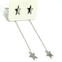 18K WHITE GOLD PENDANT EARRINGS FLAT DOUBLE STAR, SHINY, SMOOTH, ROLO CHAIN image 1