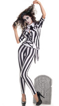 Sexy Party King Graveyard Ghost Black & White Striped Beetle Juice Costu... - $47.99