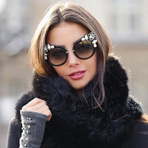 NEW Oversized Cat Eye Rhinestone Sunglasses Women Eyewear Fashion Shades... - $13.68+