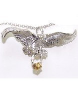 Flying Eagle Wish Rings Sterling Silver Pendant Neckalce New - $38.99