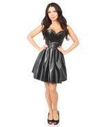 Black Steel Boned Strapless Faux Leather Dress - $180.00