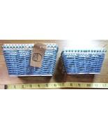 Pair of Blue Rope & Metal Frame Beaded Baskets New Look! - $12.50