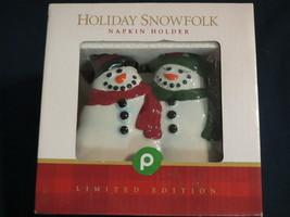 PUBLIX HOLIDAY SNOWFOLK CERAMIC NAPKIN HOLDER NIB FREE OUTDOOR WORLD ORN... - $14.99