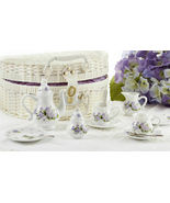 Delton Products Porcelain Purple Glory Tea Set for Two, White Basket 8116-7 - €32,61 EUR