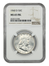 1960-D 50c NGC MS65 FBL - Franklin Half Dollar - $349.20