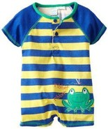 Baby Togs Baby Boys Infant Blue And Yellow Striped Frog Romper - $20.00