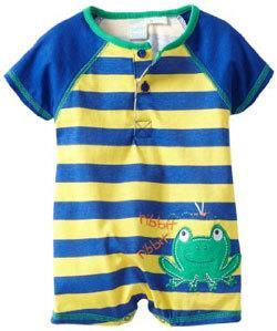 Baby Togs Baby Boys Infant Blue And Yellow Striped Frog Romper