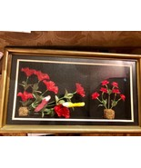 "Large Vintage Hand Crafted ""Birds And Flowers"" 3D Shadow Box Wall Art - $48.38"