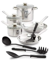 Bella 12 Pc Stainless Steel Cookware Set Oven Safe Pans Lids Utensils New In Box