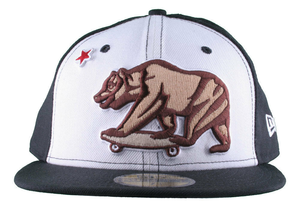 Dissizit California Skating Bear Sk8 Black W New Era 59FIFTY Fitted Baseball Hat