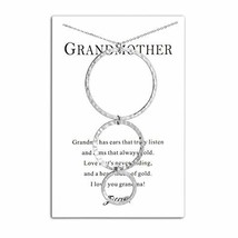 Filluck Grandmother Necklace Gift, Round Grandma Necklaces with Card - $20.81