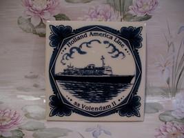 Delft Blue Holland America Line SS Volendam II Ship Tile  - $9.99