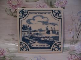 Delft Blue Holland America Line MS Statendam Ship Tile  - $9.99