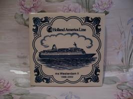 Delft Blue Holland America Line MS Westerdam II Ship Tile  - $9.99