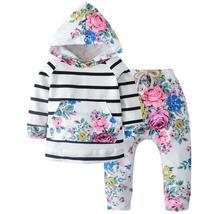 2pcs Newborn Baby Girls Clothes Set Autumn Winter Cotton Hooded T-shirt ... - $20.99
