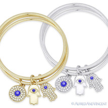 Hamsa Hand of Fatima Evil Eye Nazar Luck Charm CZ Crystal Bangle Bracele... - $12.79