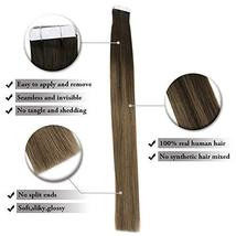 Easyouth 14inch Adhesive Tape in Hair Extensions Balayage Color 2 Dark Brown Fad image 3