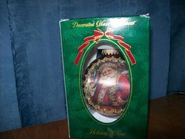 decorated glass ornament with santa - $4.99
