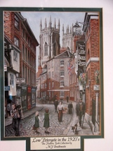 Framed UK Artist M.J. Braithwaite Print of  Lower Petergate, York UK - $7.99
