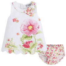 Mayoral Baby Girl 3M-24M Pink/white Floral Print A-line Cotton Dress