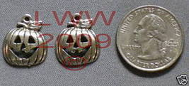 2 Halloween Jack-o-lantern pumpkin Necklace Pendants  - $3.99