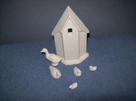 unpainted ceramic bisque farm scene - $7.99