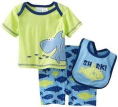 Baby Togs Baby Boys Infant Shark 3 Piece Short And Bib Set - $20.00