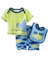 Baby Togs Baby Boys Infant Shark 3 Piece Short And Bib Set - $20.00
