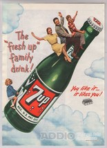 1948 7up Family Rides 7-Up Bottle in Cloud Soft Drink Soda Pop Print Ad ... - $12.59