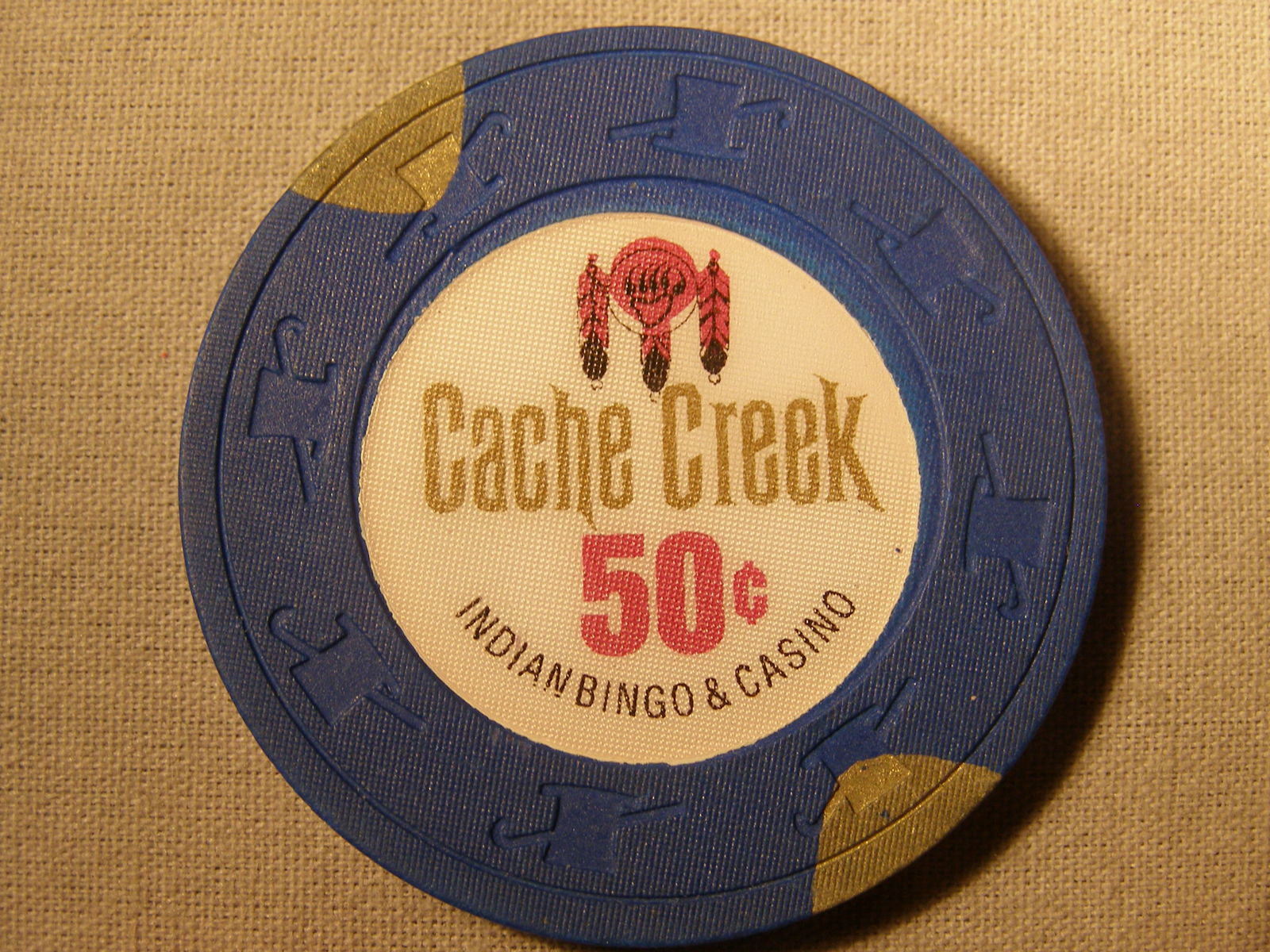 "Primary image for $0.50 Casino Chip From: ""Cache Creek Indian Bingo & Casino""- (sku#2066)"
