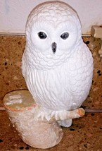 "Snowy Owl On Stump Statue Figurine 11"" Glittery - $28.70"