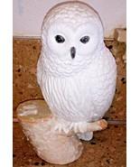 "Snowy Owl On Stump Statue Figurine 11"" Glittery - $28.70"