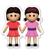 Emoji Woman & Woman vinyl sticker Lesbian LGBT GLBT #HAND IN HAND love  - $3.00+