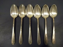 "Six 1847 Rogers Silverplate LOVELACE Pattern Teaspoons 6"" Made 1936-73  - $19.79"