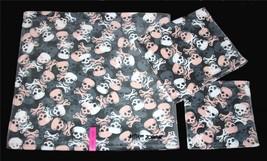 3 Betsey Johnson CAMO SKULLS Grey White Pink Velour Bath Hand Towel Washcloth - $39.99