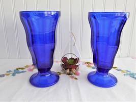 Pair Cobalt Blue Glass Soda Tumblers Anchor Hocking Fountainware Ice Cream 1960s - $38.00