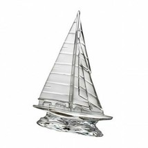 "Waterford Crystal Tall Clear Sailboat Sculpture Nautical Beach Sea 9"" New - $180.92"