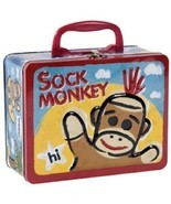 Sock Monkey Keepsake Tin Metal Box Lunch Schylling Space Kids Lunchbox w... - $10.40