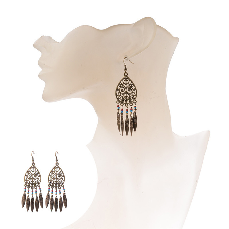 1 Pair Bronze Native American Hollow Leaf Tassel Antique Boho Drop Earrings 2017