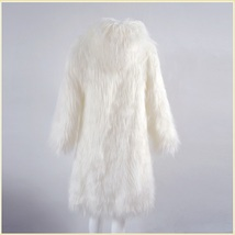 White Hooded Fluffy long Hair Angora Goat Faux Fur Long Trench Coat Jacket image 2