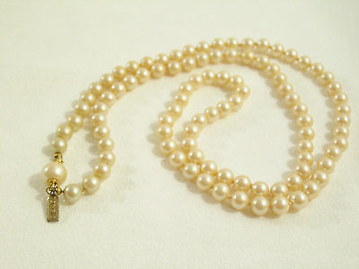 MARVELLA String Faux PEARLS Necklace CREAMY White Vintage Hand Knotted Strand