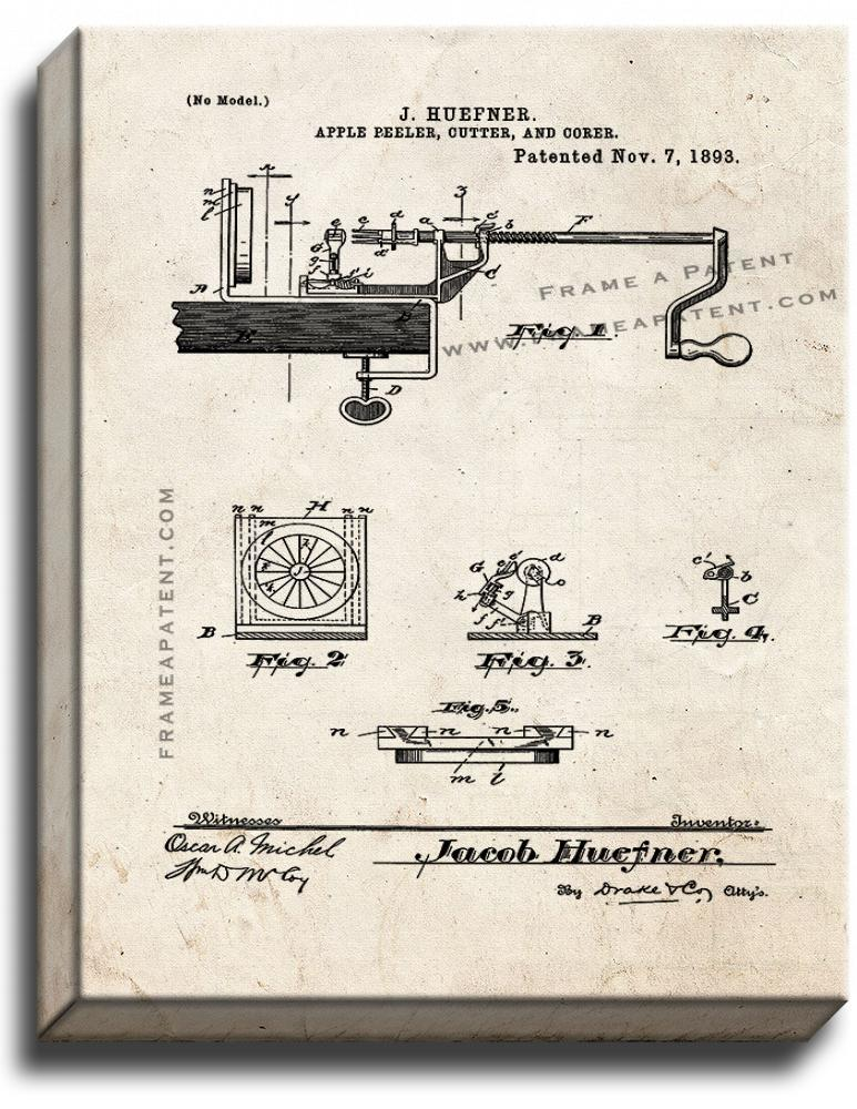 Primary image for Apple Peeler Cutter and Corer Patent Print Old Look on Canvas